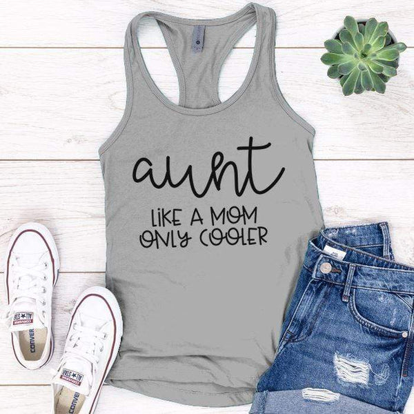 Aunt Like A Mom Premium Tank Tops Apparel Edge Heather Grey S