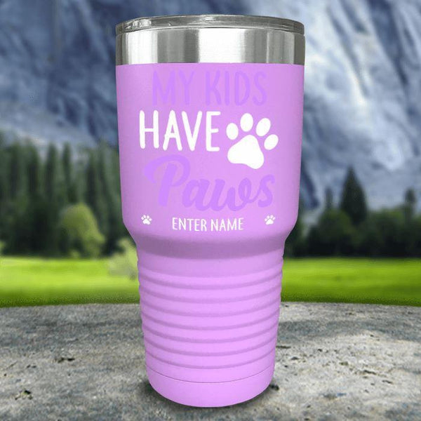 Personalized My Kid Has Paws Color Printed Tumblers Tumbler Nocturnal Coatings 30oz Tumbler Lavender