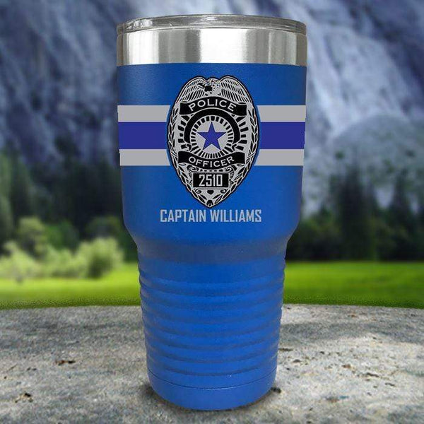 Personalized Police FULL Wrap Color Printed Tumblers Tumbler Nocturnal Coatings 30oz Tumbler Blue
