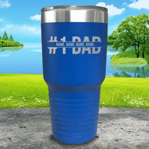 #1 Dad (CUSTOM) With Child's Name Engraved Tumbler Tumbler ZLAZER 30oz Tumbler Blue