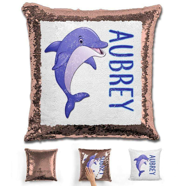 Dolphin Personalized Magic Sequin Pillow Pillow GLAM Rose Gold