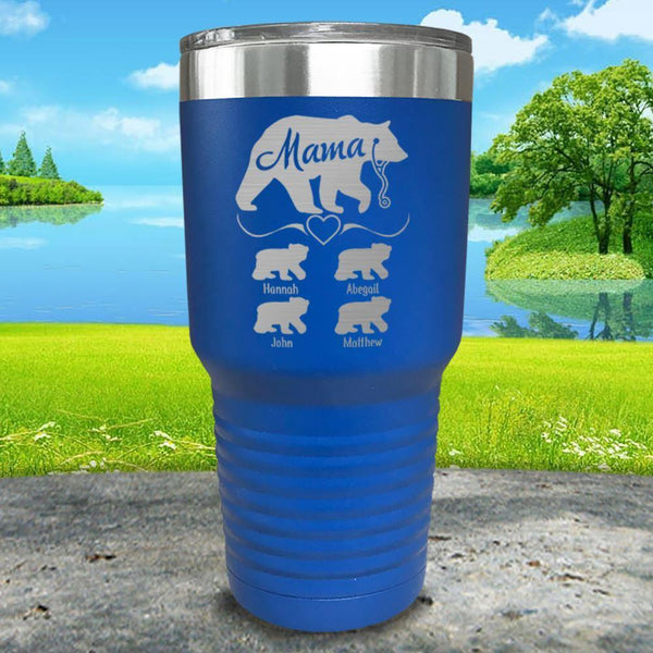 Mama Bear Nurse (CUSTOM) With Child's Name Engraved Tumblers Tumbler ZLAZER 30oz Tumbler Lemon Blue