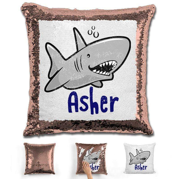 Shark Personalized Magic Sequin Pillow Pillow GLAM Rose Gold