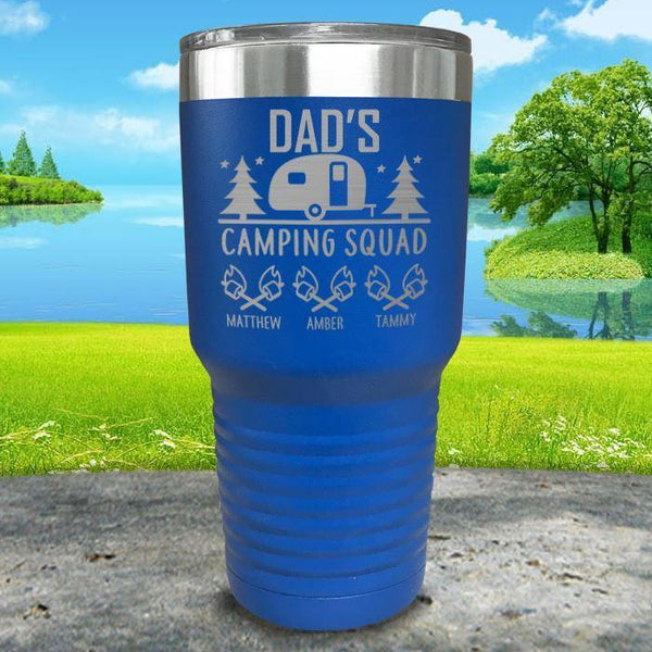 Dad's Camping Squad (CUSTOM) With Child's Name Engraved Tumblers Tumbler ZLAZER 30oz Tumbler Blue