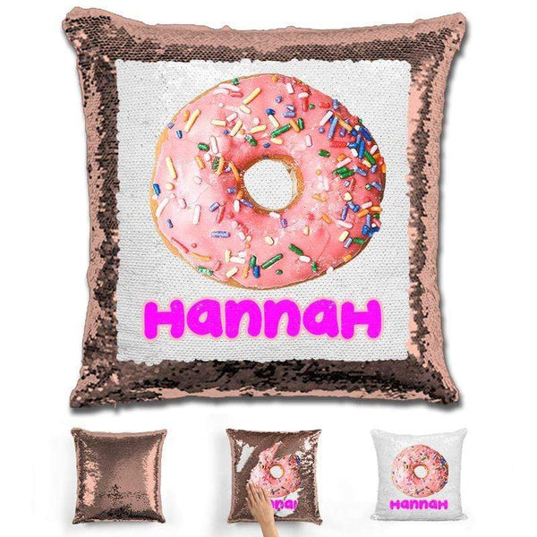 Donut Personalized Magic Sequin Pillow Pillow GLAM Rose Gold