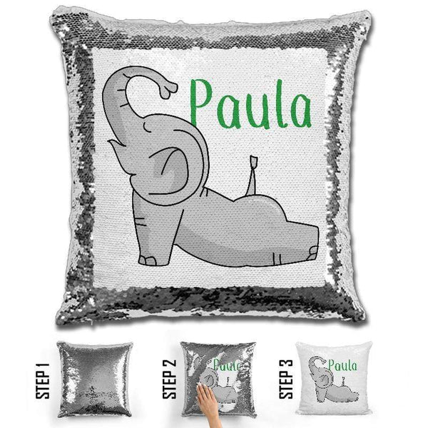 Happy Elephant Personalized Magic Sequin Pillow Pillow GLAM Green