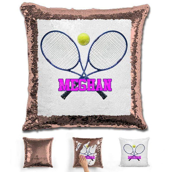 Tennis Personalized Magic Sequin Pillow Pillow GLAM Rose Gold Pink