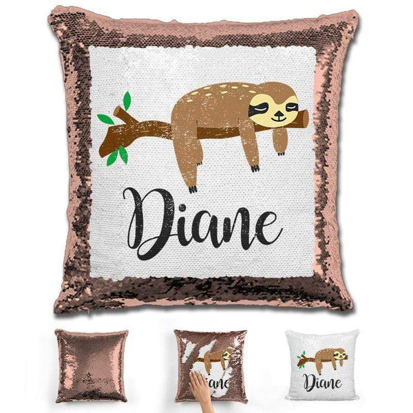 Sloth Personalized Magic Sequin Pillow Pillow GLAM Rose Gold