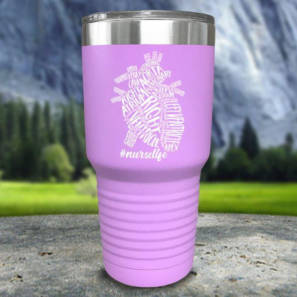 Nurse Descriptive Heart Color Printed Tumblers Tumbler Nocturnal Coatings 30oz Tumbler Lavender