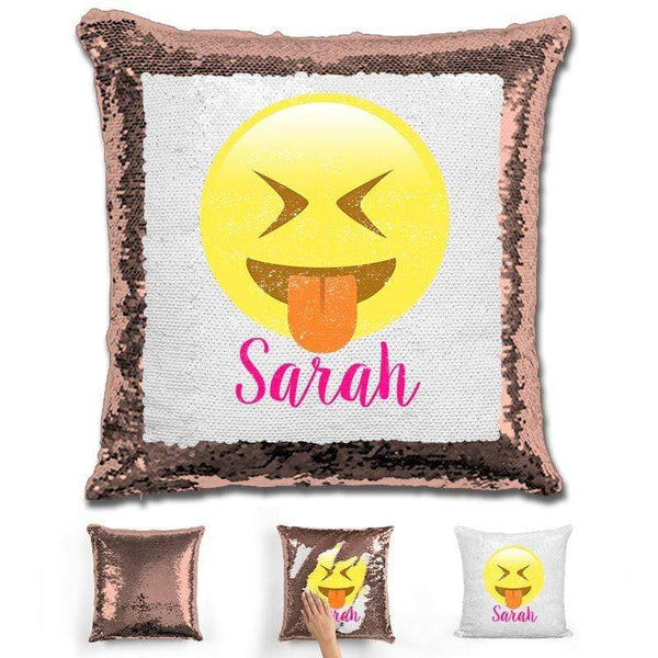 Squinting Eyes Emoji Personalized Magic Sequin Pillow Pillow GLAM Rose Gold