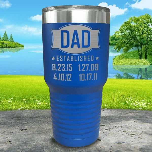 Dad Established CUSTOM Dates Engraved Tumblers Tumbler ZLAZER 30oz Tumbler Blue