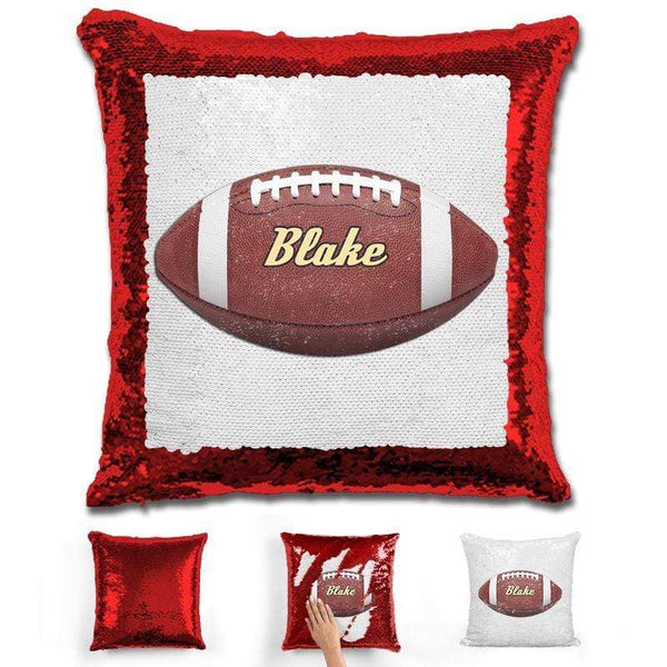 Football Personalized Magic Sequin Pillow Pillow GLAM Red