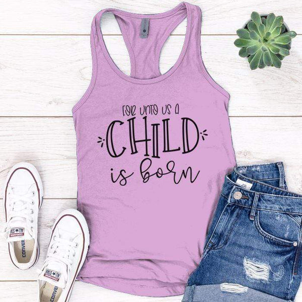 A Child Is Born Premium Tank Tops Apparel Edge Lilac S