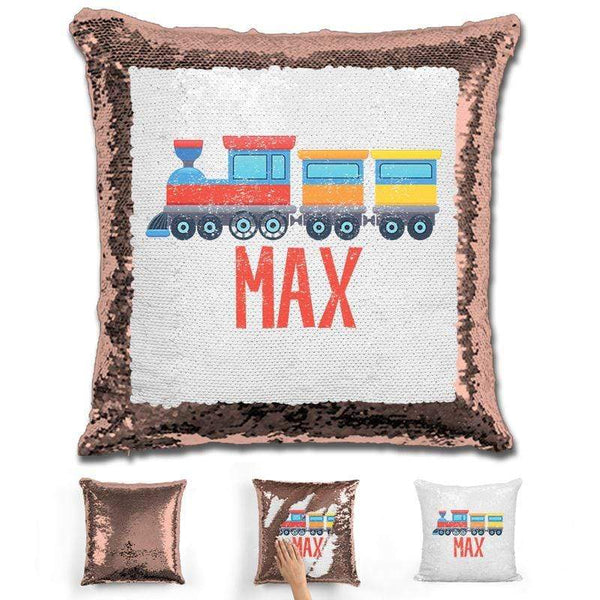 Train Personalized Magic Sequin Pillow Pillow GLAM Rose Gold