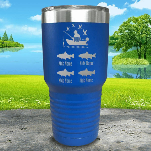 Fishing Dad (CUSTOM) With Child's Name Engraved Tumblers Tumbler ZLAZER 30oz Tumbler Blue