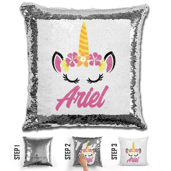 Unicorn Personalized Magic Sequin Pillow Pillow GLAM Silver