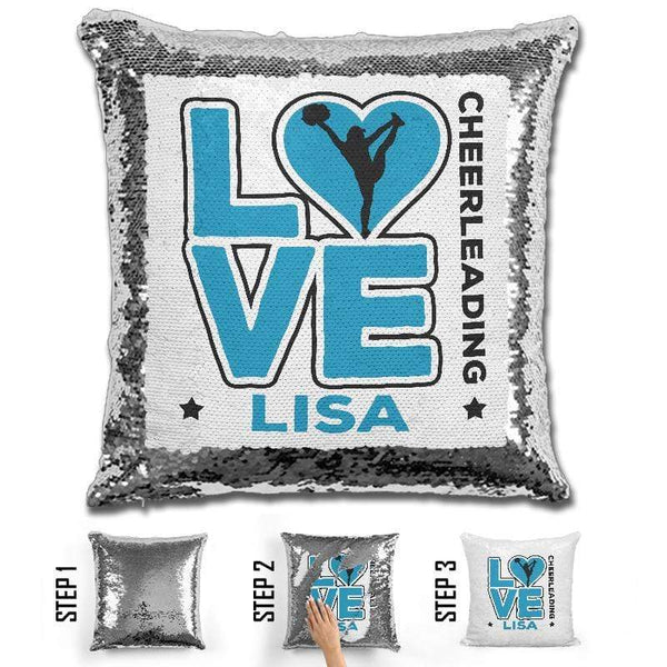 Personalized LOVE Cheer Magic Sequin Pillow Pillow GLAM Light Blue