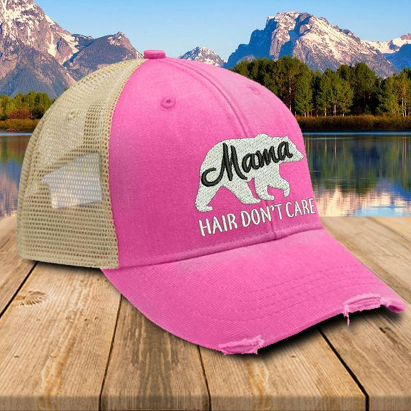 Mama Bear Hair Don't Care Premium Trucker Hat Hat Edge Neon Pink