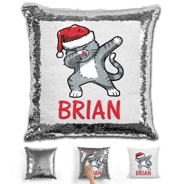 "Personalized ""Dab"" Cat Christmas Magic Sequin Pillow Pillow GLAM Silver"