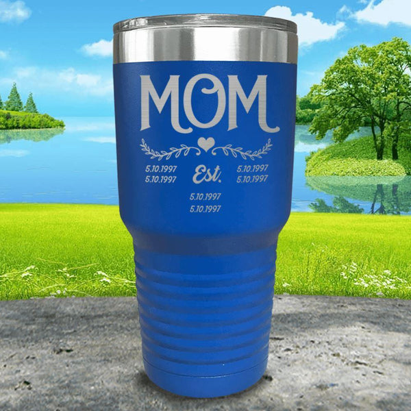 Mom Est (CUSTOM) Engraved Tumblers Tumbler ZLAZER 30oz Tumbler Blue