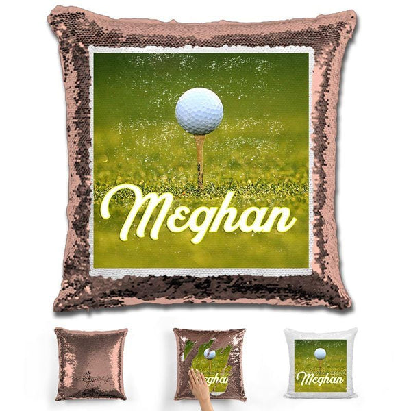 Golf Personalized Flip Sequin Pillow Pillow GLAM Rose Gold
