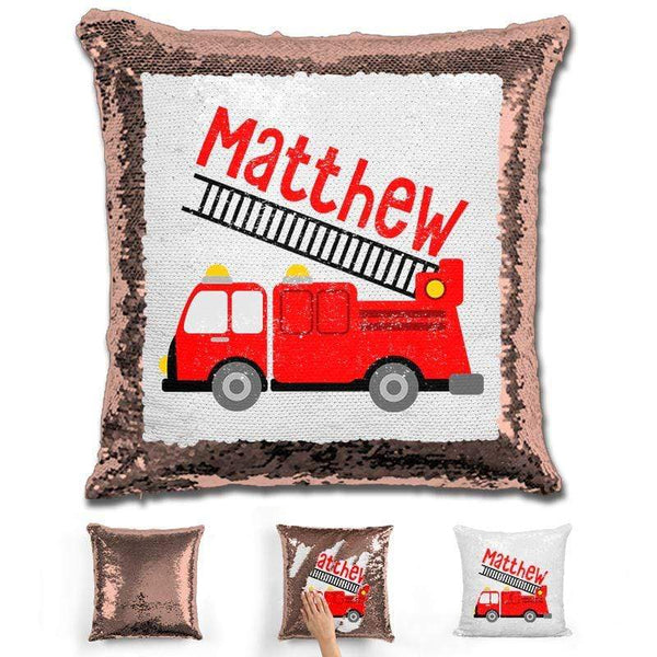 Firetruck Personalized Magic Sequin Pillow Pillow GLAM Rose Gold