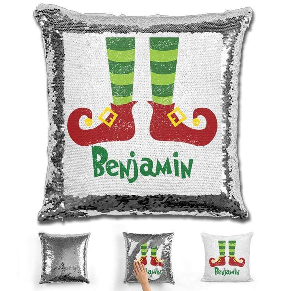Personalized Elf Legs Christmas Magic Sequin Pillow Pillow GLAM Silver