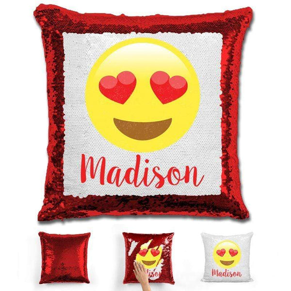 Heart Eyes Emoji Personalized Magic Sequin Pillow Pillow GLAM Red