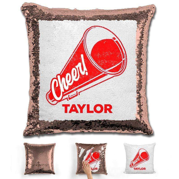 Cheerleader Personalized Magic Sequin Pillow Pillow GLAM Rose Gold Red
