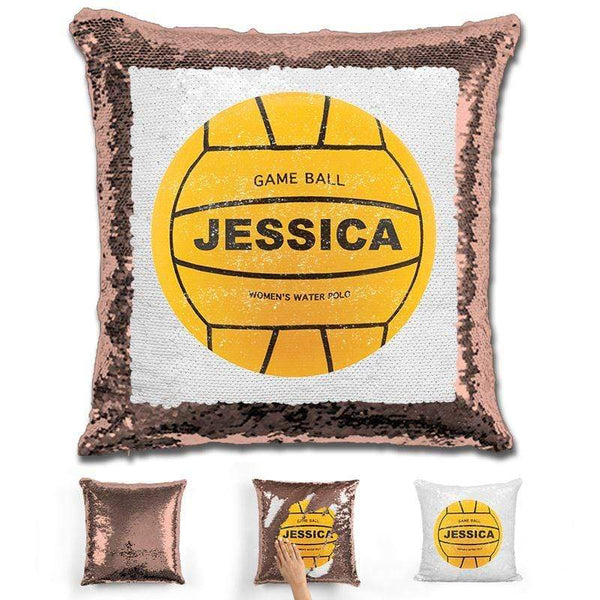 Water Polo Personalized Magic Sequin Pillow Pillow GLAM Rose Gold