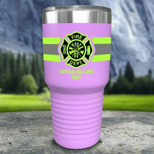 Personalized Firefighter FULL Wrap Color Printed Tumblers Tumbler Nocturnal Coatings 30oz Tumbler Lavender