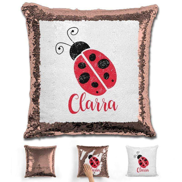 Ladybug Personalized Magic Sequin Pillow Pillow GLAM Rose Gold
