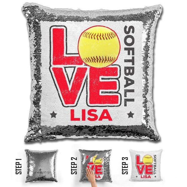 Personalized LOVE Softball Magic Sequin Pillow Pillow GLAM Silver Red