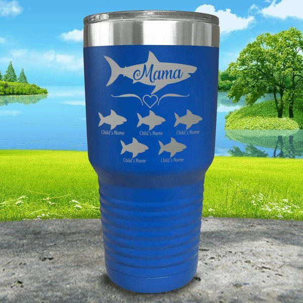 Mama Shark (CUSTOM) With Child's Name Engraved Tumblers Tumbler Southland 30oz Tumbler Blue