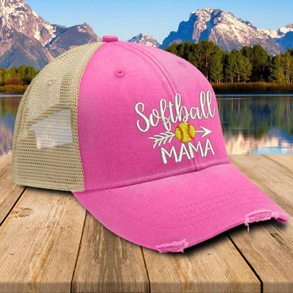 Softball Mama Trucker Hat Hat Edge Neon Pink