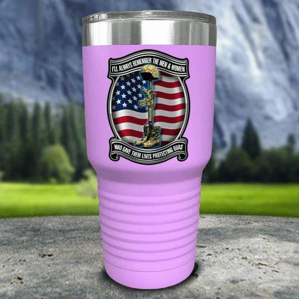 Veteran Always Remember Color Printed Tumblers Tumbler Nocturnal Coatings 30oz Tumbler Lavender