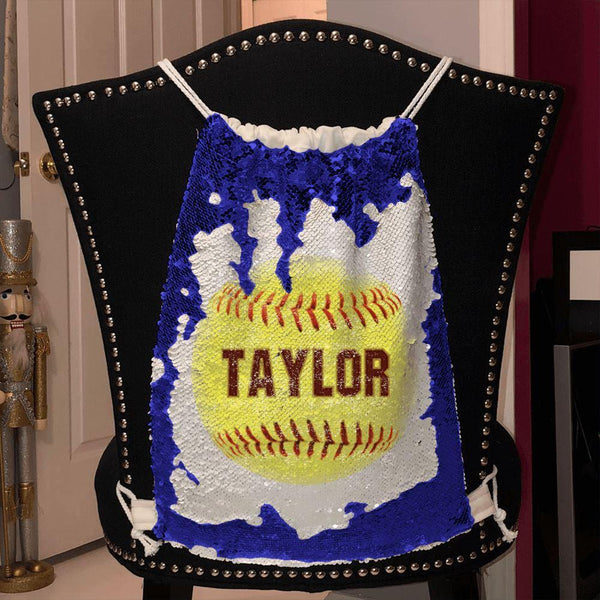 Softball Personalized Magic Sequin Backpacks Sequin Backpack BLINGZ Blue