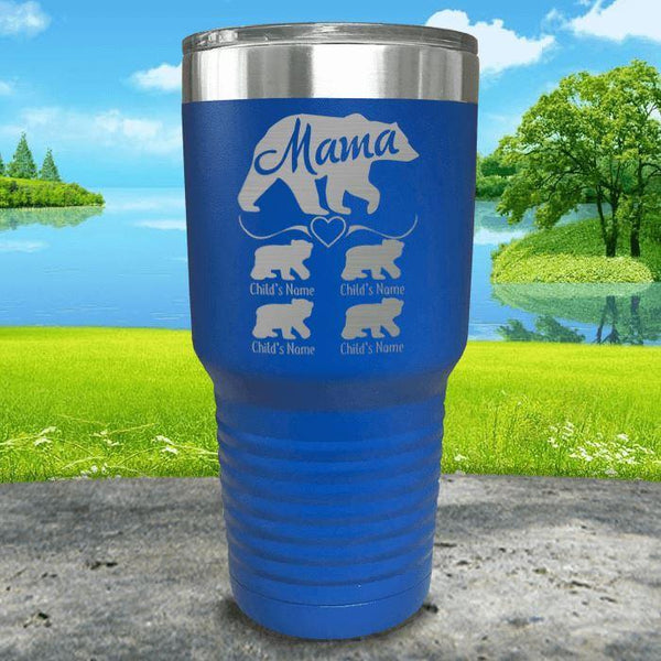 Mama Bear (CUSTOM) With Child's Name Engraved Tumblers Tumbler ZLAZER 30oz Tumbler Blue