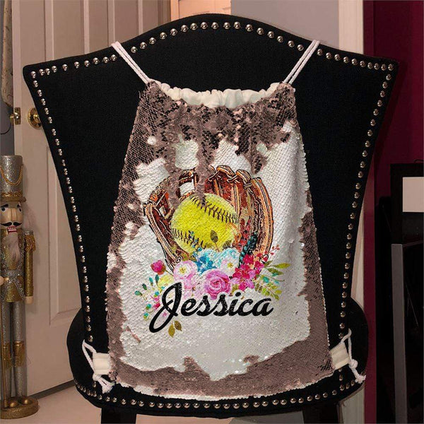 Softball Glove Personalized Magic Sequin Backpacks Sequin Backpack BLINGZ Rose Gold