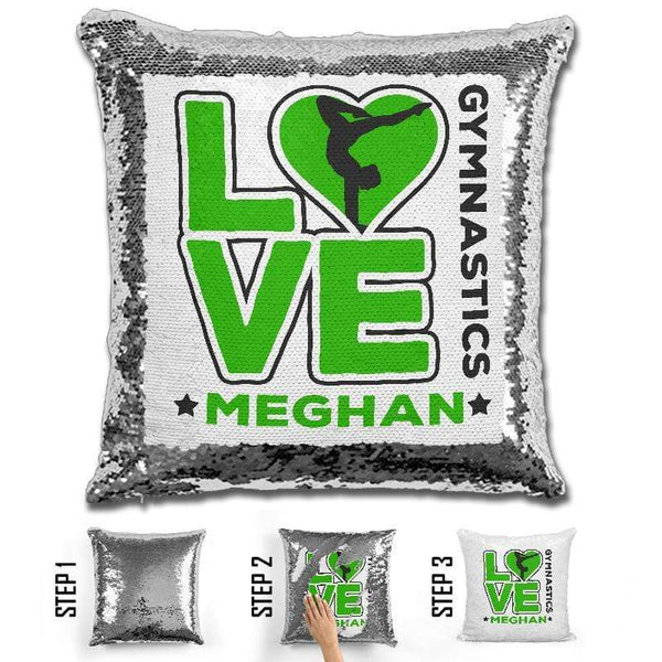 Personalized LOVE Gymnastics Magic Sequin Pillow Pillow GLAM Green