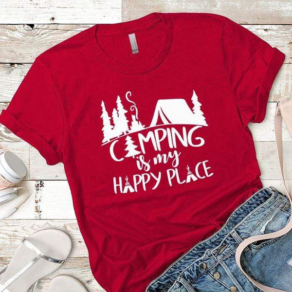 Camping Is My Happy Place 2 Premium Tees T-Shirts CustomCat Red X-Small