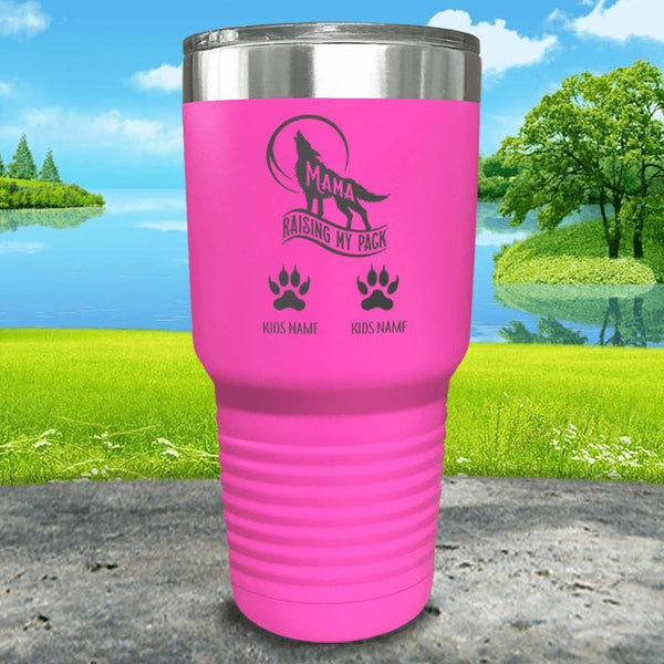 Wolf Mama (CUSTOM) With Child's Name Engraved Tumblers Tumbler ZLAZER 30oz Tumbler Pink