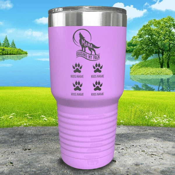 Wolf Mama (CUSTOM) With Child's Name Engraved Tumblers Tumbler ZLAZER 30oz Tumbler Lavender