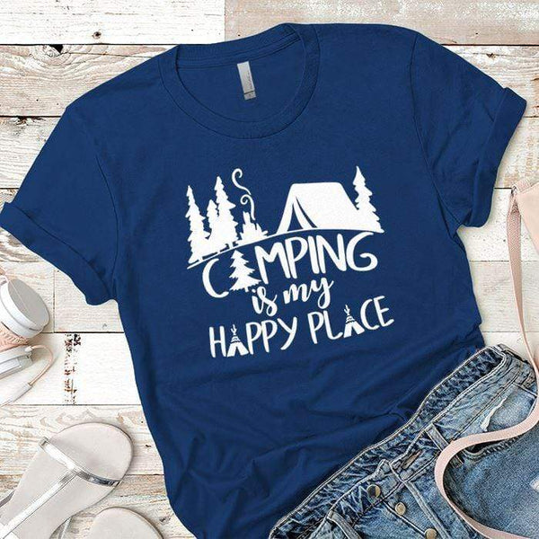 Camping Is My Happy Place 2 Premium Tees T-Shirts CustomCat Royal X-Small