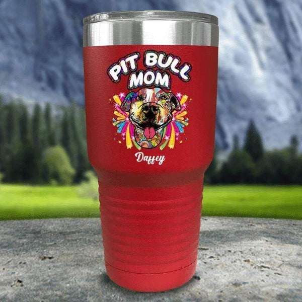 Personalized Pit Bull Mom Color Printed Tumblers Tumbler Nocturnal Coatings 30oz Tumbler Red