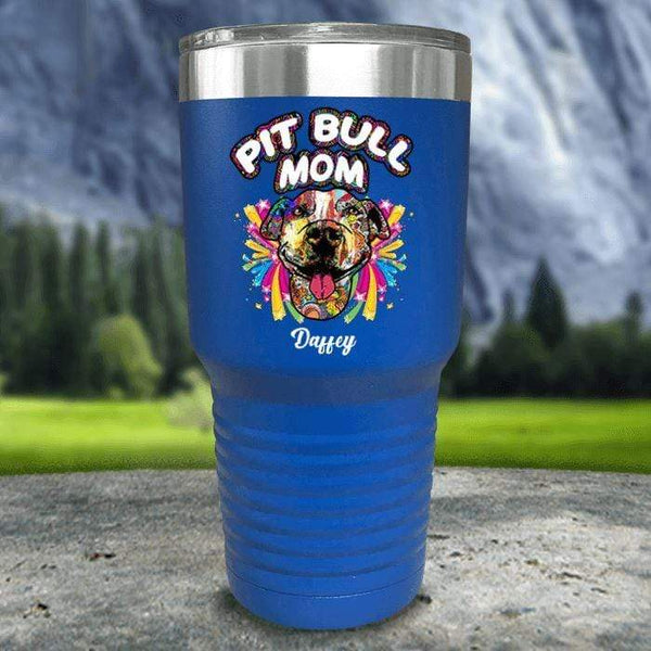 Personalized Pit Bull Mom Color Printed Tumblers Tumbler Nocturnal Coatings 30oz Tumbler Blue