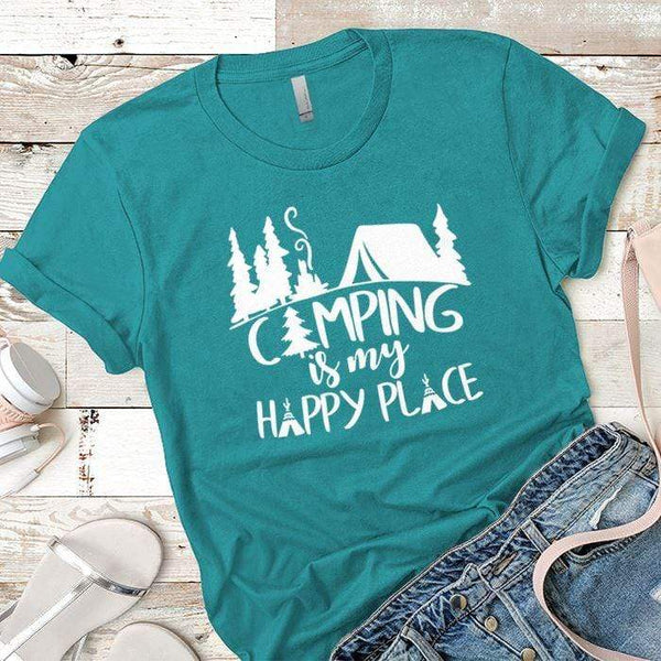 Camping Is My Happy Place 2 Premium Tees T-Shirts CustomCat Tahiti Blue X-Small