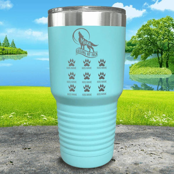 Wolf Mama (CUSTOM) With Child's Name Engraved Tumblers Tumbler ZLAZER 30oz Tumbler Mint