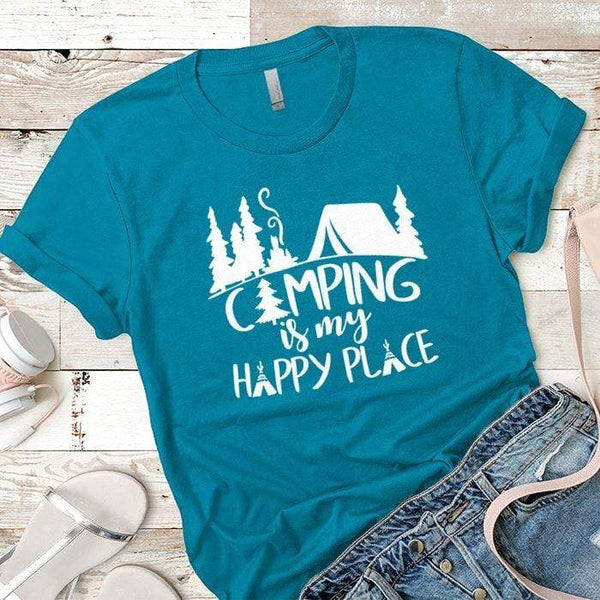 Camping Is My Happy Place 2 Premium Tees T-Shirts CustomCat Turquoise X-Small