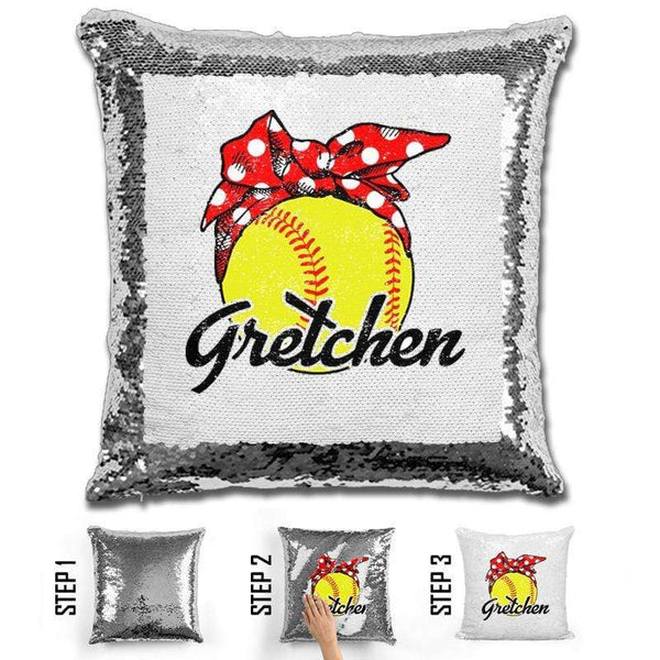 CUSTOM Bandana Softball Magic Sequin Pillow Pillow BLINGZ Silver